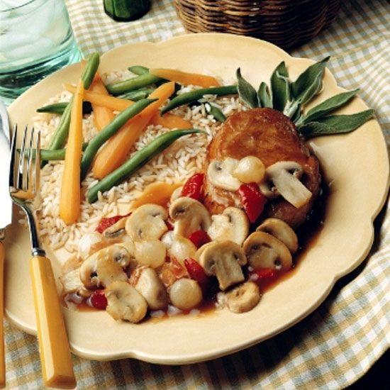 Pork Chops with Mushroom Sage Wine Sauce Recipe : Cooking.com Recipes