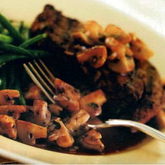 Steak with Red Wine Mushroom Sauce