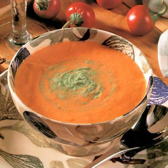 Tomato and Bell Pepper Soup with Chili Cream
