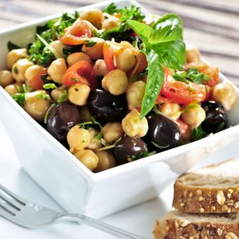 Garbanzo Salad with Basil Vinaigrette