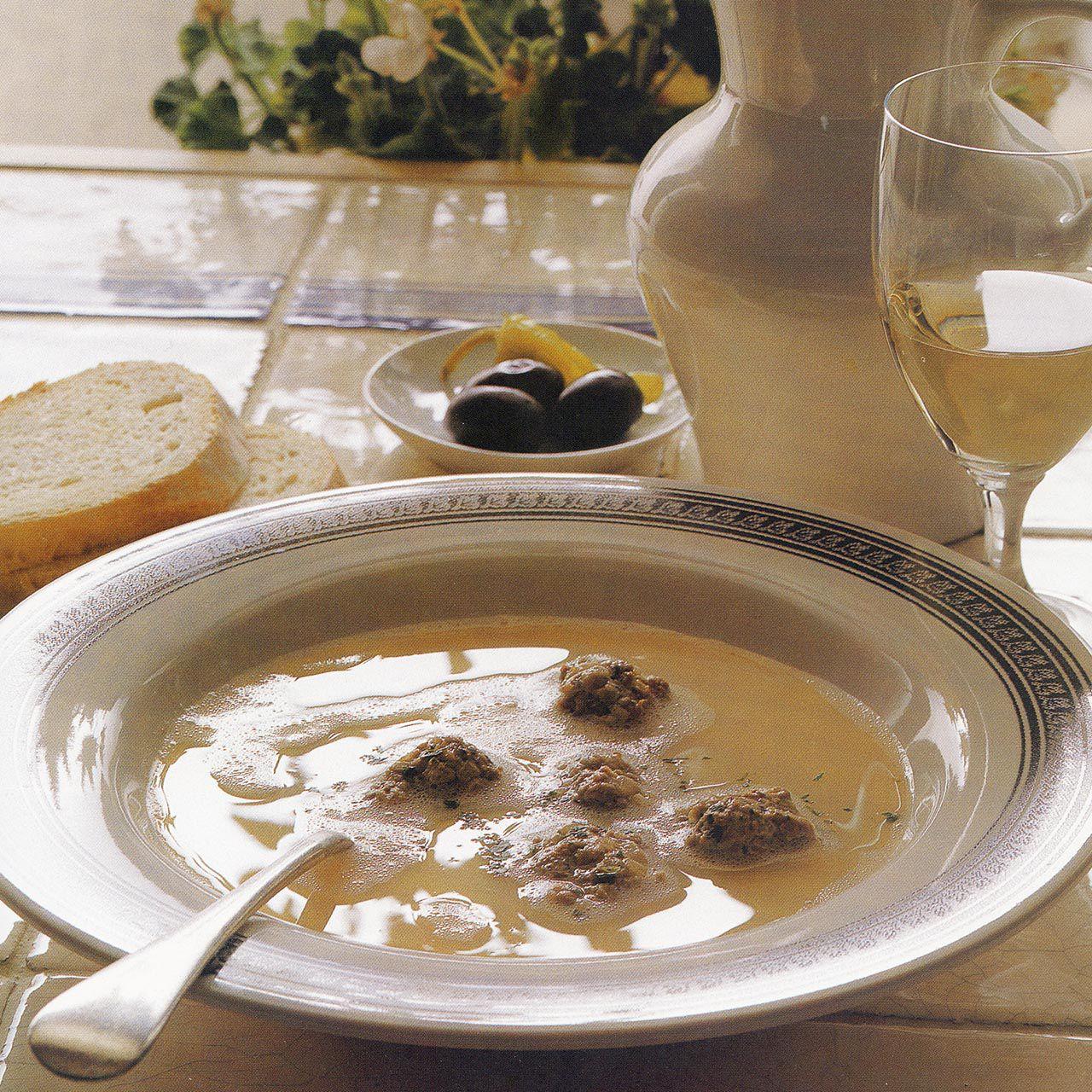 Meatball Soup with Egg and Lemon