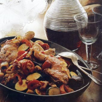 Chicken with Eggplant, Peppers and Tomatoes