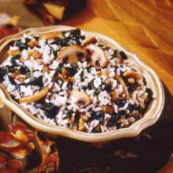 Walnut Rice with Cream Cheese, Mushrooms and Spinach
