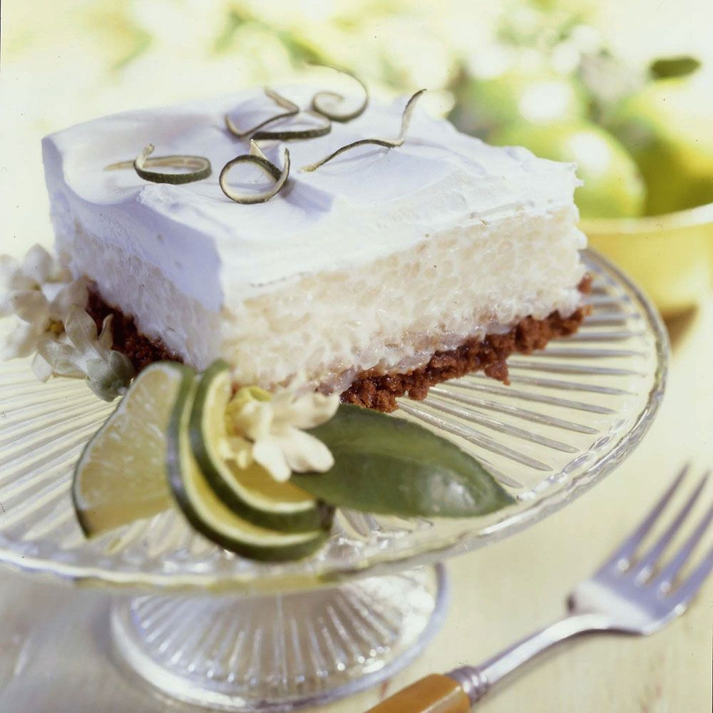 Tangy Lime Rice Pudding Squares