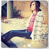 Hooded Stripe Fringe Cardi style pic