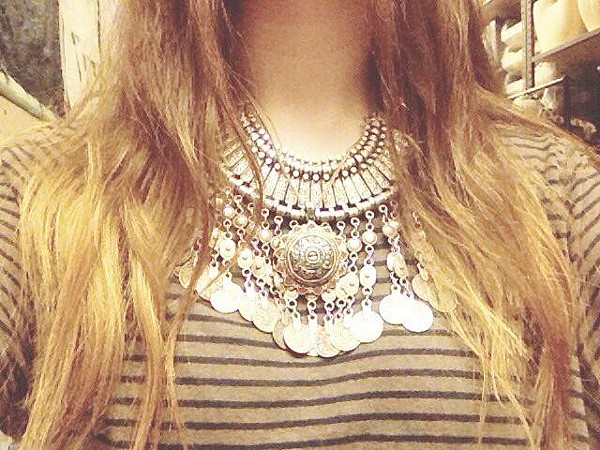 i love layering my antalya coin collar under a necklace that was a present from Istanbul, Turkey!