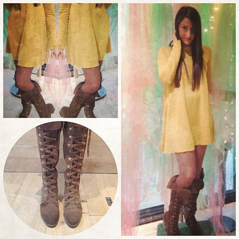 Long Sleeve Swing Dress & Johnny Tall Boot