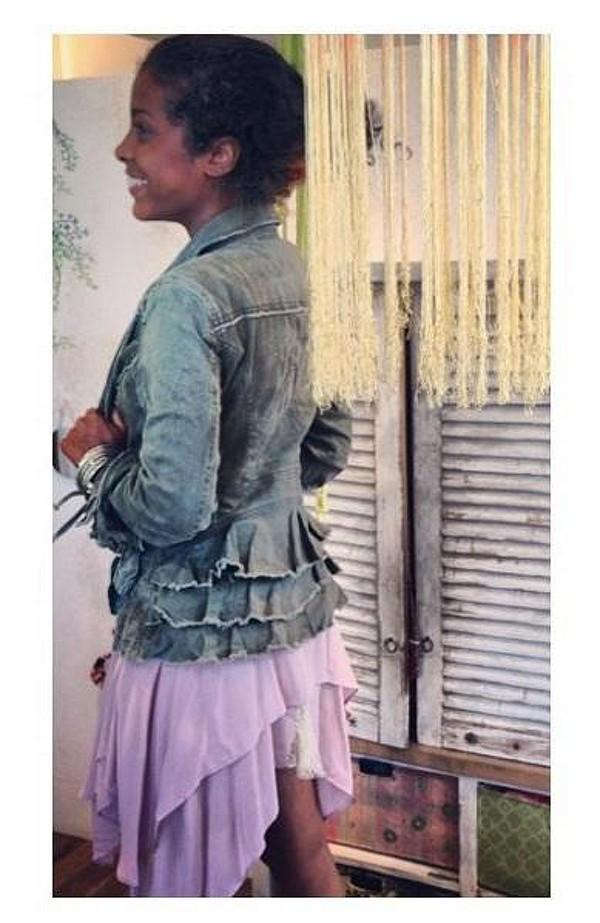 Military Ruffle Twill Jacket style pic