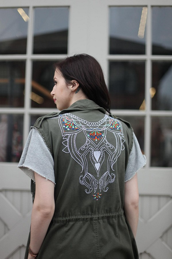 Embroidered Cargo Vest style pic