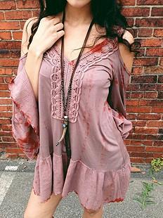 Gypsy Junkies Long Leather Horn Pendant