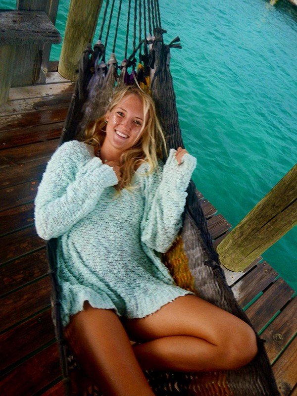 Alex Relaxing in the Shaggy Knit Pullover