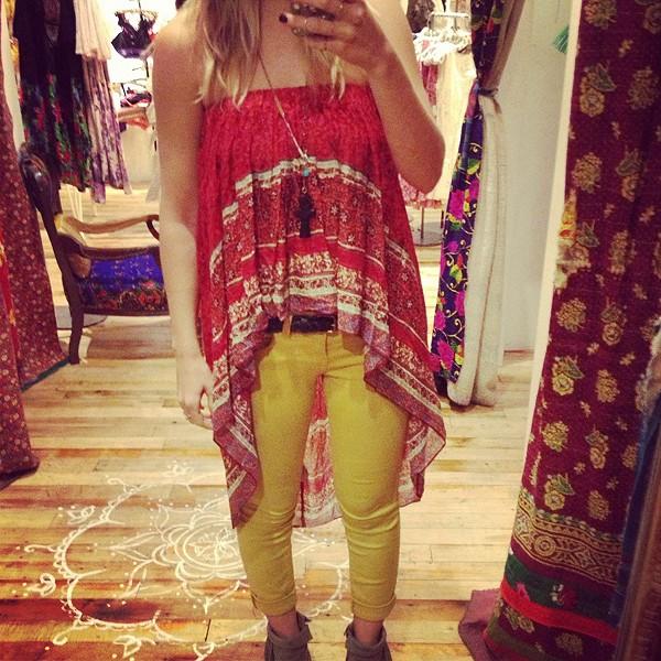 Border Print Highlow Slip Skirt - can also be worn