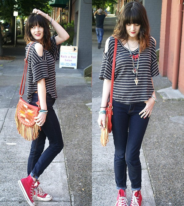 Cold Shoulder Stripe Tee style pic