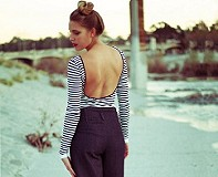 Striped Low Back Top style pic