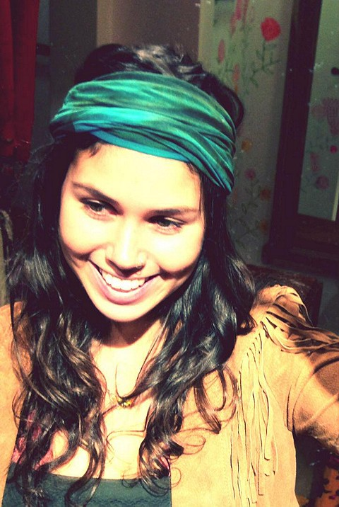 Playing around with the bluey-greenish headwrap