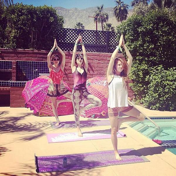 Poolside yoga!