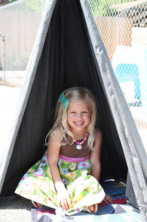 Libby finds her happy place in the Saquaro Tipi...