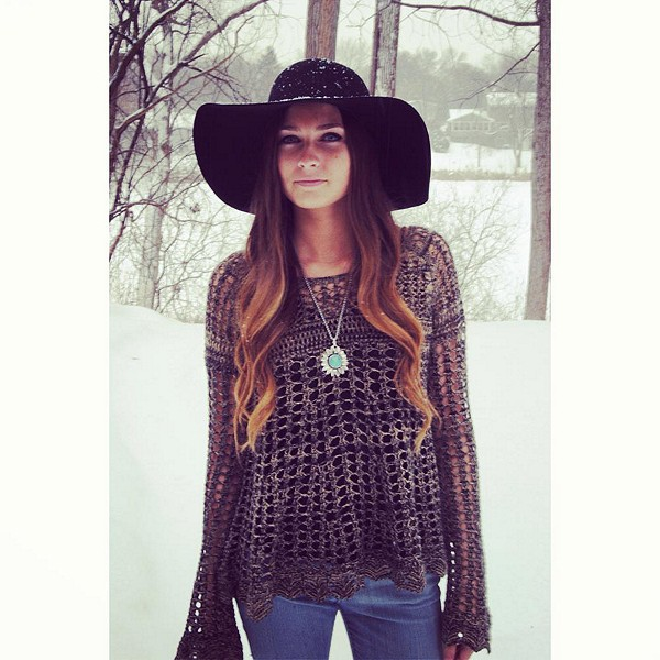 Floppy hat and Sweater. perfect.