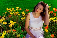 Modeling in the Fitted with Daisies Dress