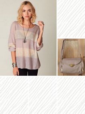 cream/rose striped off shoulder sweater