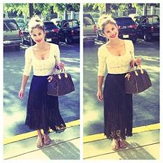 black mid height skirt