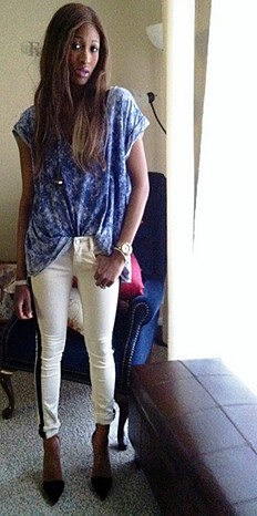 Vegan Leather Trim Skinny style pic