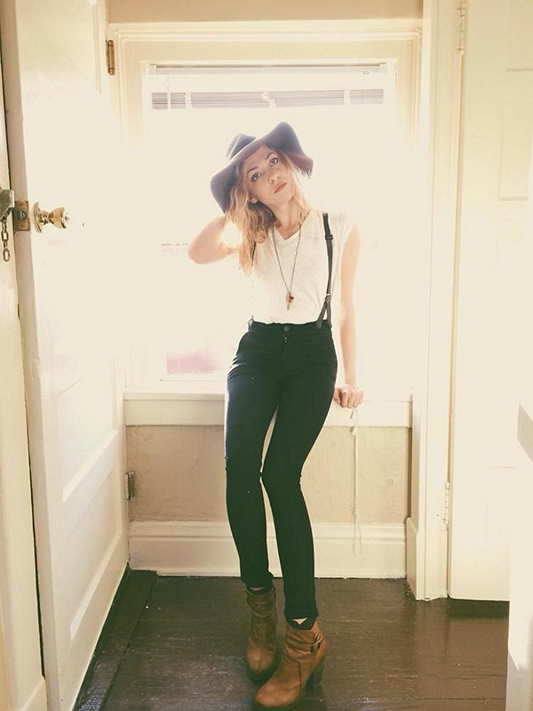 Absolutely in love with the James Suspender Skinnies, Ella Hat   At the Seams Tee!! More looks on Instagram (@tifforelie) and my blog (offbeatandinspired.com)!