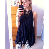 Sleeveless Crochet Ruffle Tunic style pic
