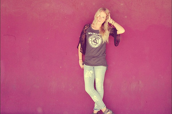 We The Free Pieced Lace Sleeve Tee style pic