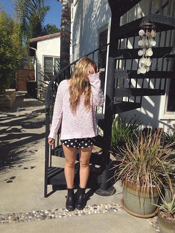 Gemini polkadot shorts and shaggy knit pullover