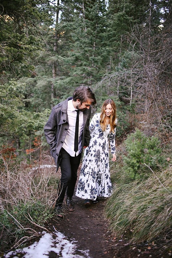my fiancé and i in the wasatch mountains, this dress was so perfect for the gorgeous winter setting!