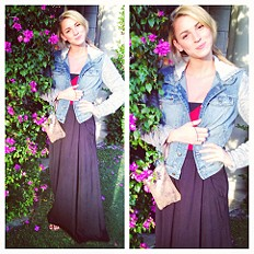 Knit Hooded Denim Jacket   FP Mad Cool Skirt!