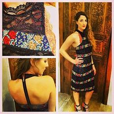 Cross Stitch Lace Column Dress style pic