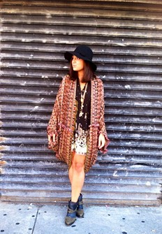 Ikat Hooded Poncho style pic