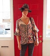 Printed Bubble Sleeve Tunic style pic
