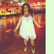 Like A Virgin dress at the Roller Disco