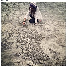 shaggy knit pullover and sand doodles