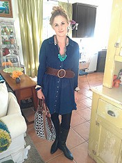 Denim Knit Shirt Dress style pic