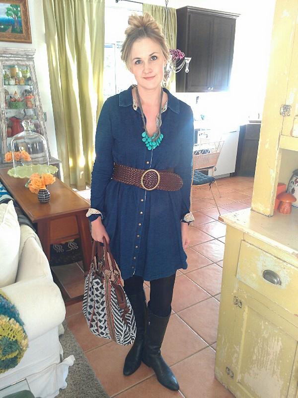Denim Knit Shirt Dress style pic