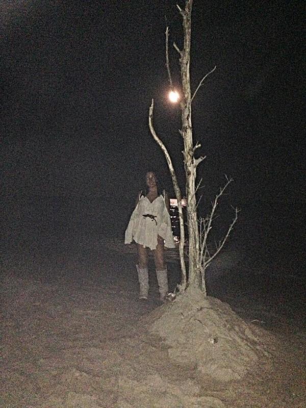 #fpFiveElements Moonlit beach stroll. Oak Island, NC (We decided the beach needed a tree)