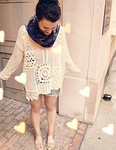Patched Crochet Pullover style pic