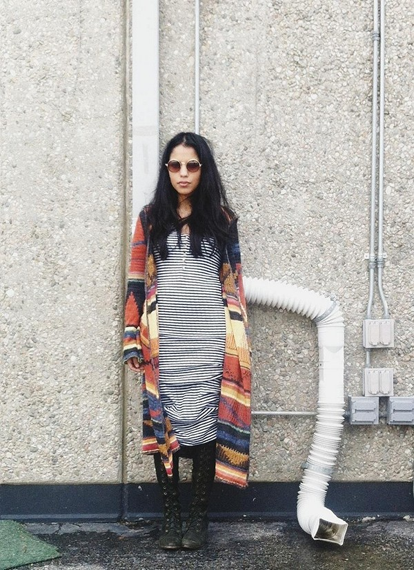 Long Pattern Hooded Cardigan style pic