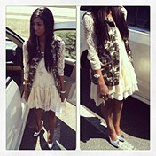 Long-Sleeve Lace Dropwaist Dress style pic