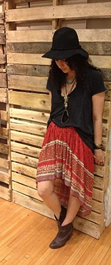 Border Print Highlow Slip Skirt style pic
