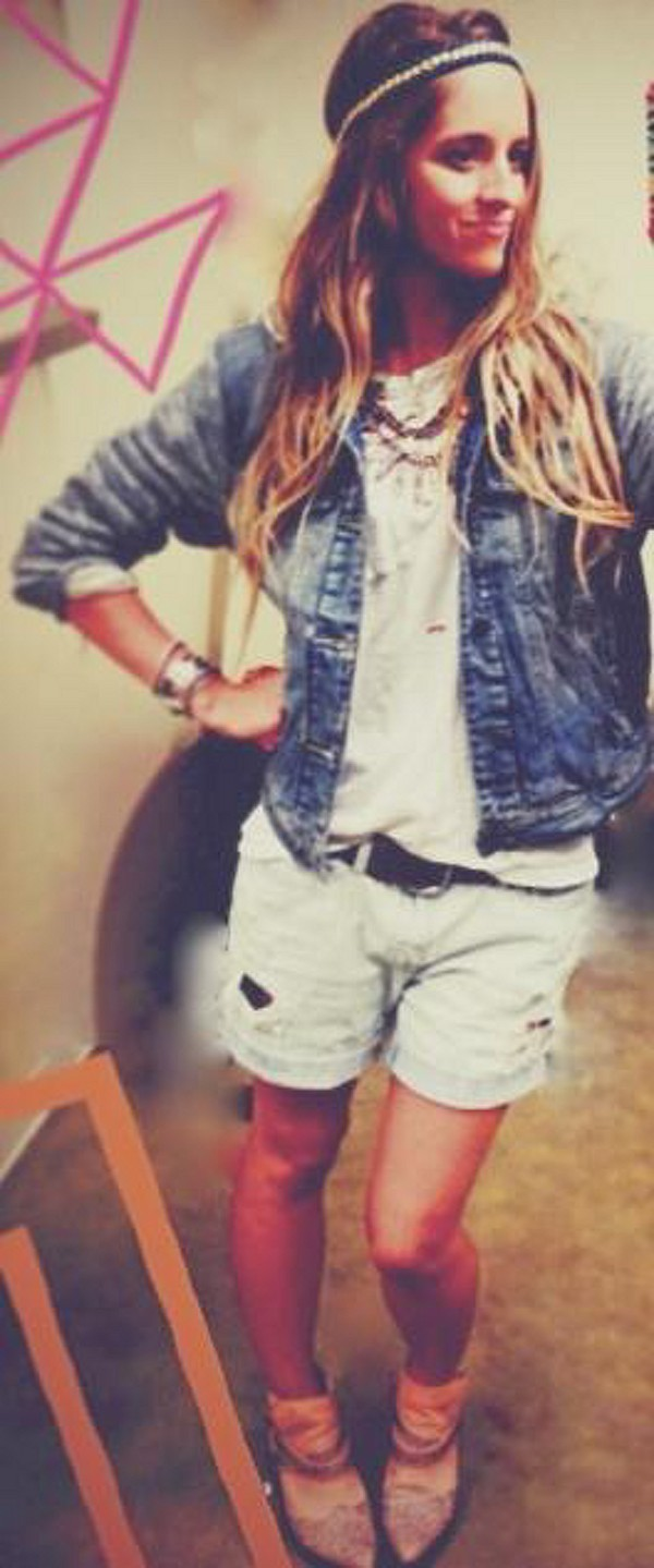 Knit Hooded Denim Jacket style pic