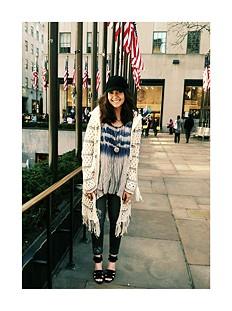 Hooded Stripe Fringe Cardi style pic