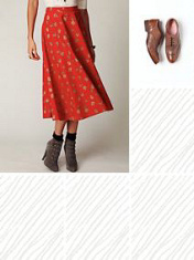 red/gold tea length skirt