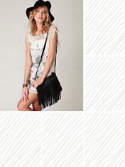 black long fringe crossbody