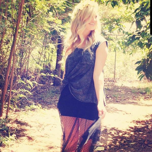Dot Mesh Skirt style pic