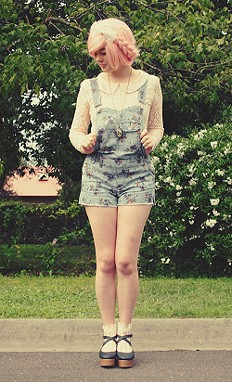 Floral Overalls, Fairy Floss Hair and Free People